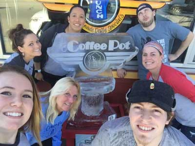 Coffee Pot staff and our Snow Daze ice sculpture